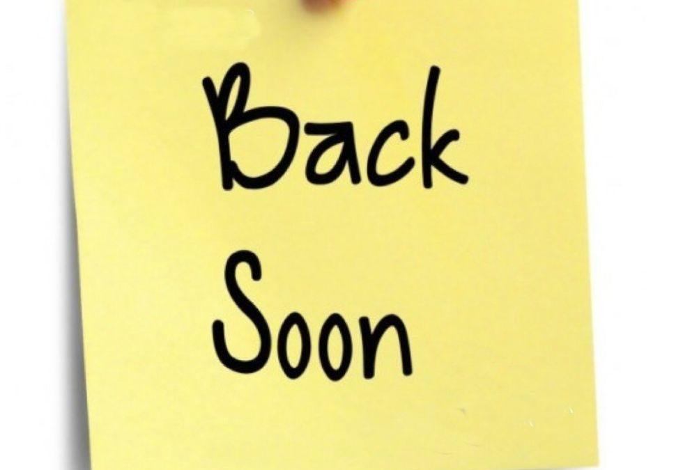 Friday 27th March 2020 – Back Soon