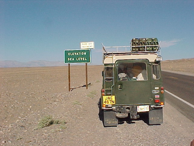Land Rover series III 109 3 door with roof rack, safari roof - rebuilt and exported to Seaside california - seen here leaving badwater