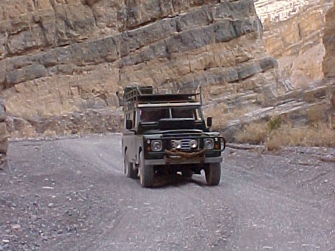 Land Rover series III 109 3 door with roof rack, safari roof - rebuilt and exported to Seaside california - seen here driving through Titus Canyon