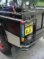 Richard Hammond - top gear presenter - 110 defender V8 soft top - 7 days in the making - day 5 - chequer plate kit and rear lamp guards fitted